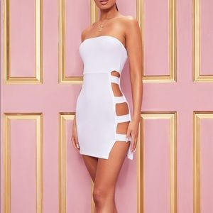 Crepe split side bandeau bodycon dress !